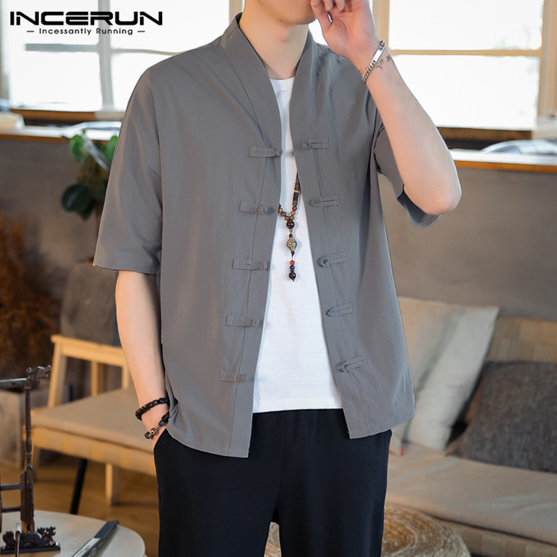 INCERUN Vintage Men Shirt Short Sleeve Cotton Solid Color Button Camisa V Neck Casual Chinese Style Shirts Men Streetwear 2019