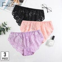 FallSweet 3 pièces/paquet! Culotte en dentelle taille moyenne pour Femme, sous-vêtement Ultra fin, couleur unie, grande taille, XL à XXXXL