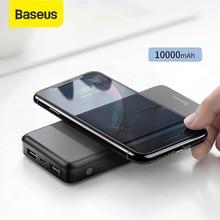 Baseus 10000mah power bank carregador sem fio de carregamento rápido para iphone samsung huawei xiaomi dupla carga usb bateria externa