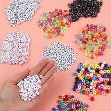 Acrylic Beads Necklace Diy Bracelet Jewelry-Making Alphabet Mixed-Letter Flat-Cube Round