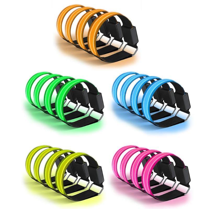 4pcs lot Glowing Bracelets Sport LED Wristbands Adjustable Running Light Nylon Armbands Night Safety Unisex Sports LED Luminous