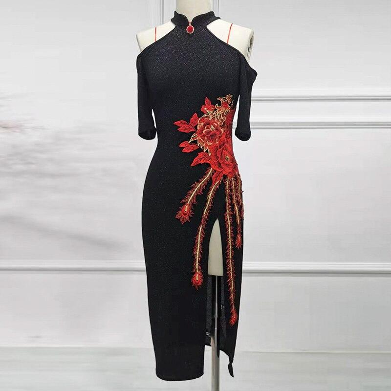 New Latin Dance Dress Chinese Cheongsam Performance Dresses Female Charleston Latino Salsa Samba Dance Practice Clothes DWY2222