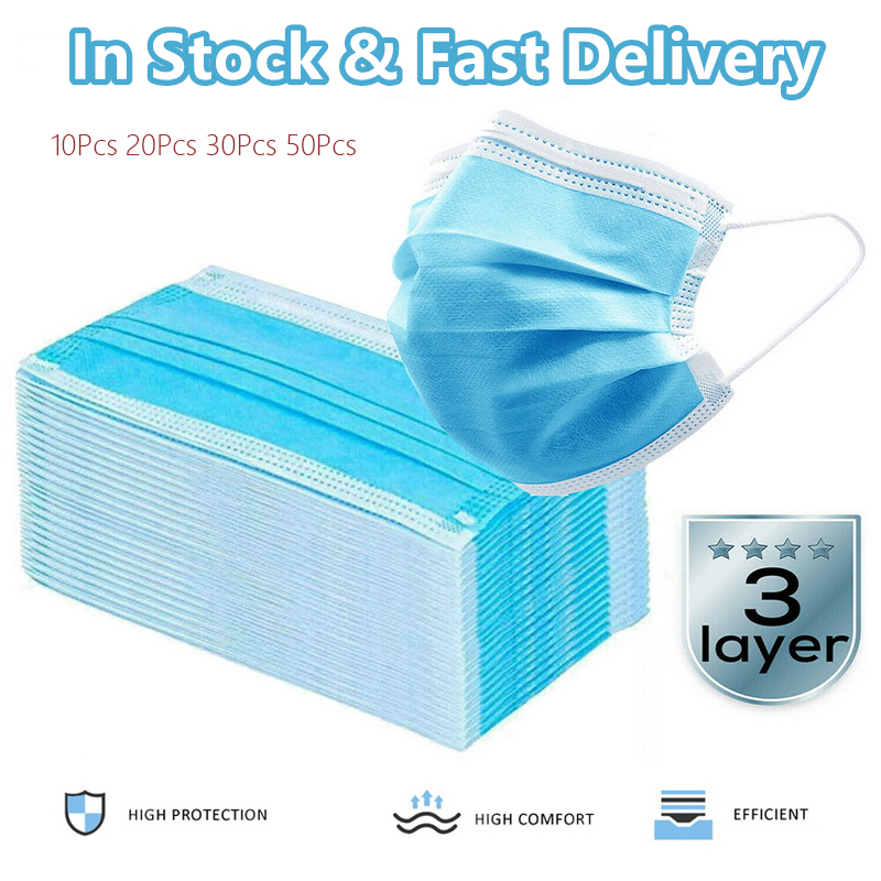 50Pcs 3-Ply Disposable Protective Mask Civil  Face Mouth Masks Anti Influenza Breathing Safety Masks Personal Protective Article