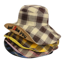 Bucket Hat Women Plaid Big Brim Sun Summer Beach Reversible Spring Cap Climbing Holiday Outdoor Accessory outdoor gesture finger pattern reversible bucket hat