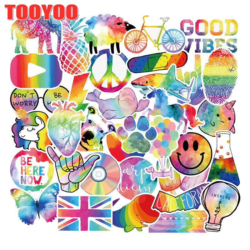 10/50PCS/set Cartoon Colorful Rainbow Stickers For Kids Funny Toy Waterproof Sticker DIY Laptop Helmet Luggage Decals Gift