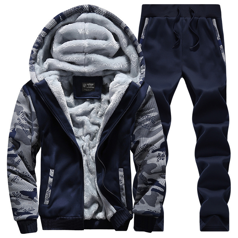 Masculino Autumn Streetwear Two Piece Sets Hooded Hoodies + Trouser 2 Piece Sets Hombre Men Tracksuit Patchwork Spring MOOWNUC