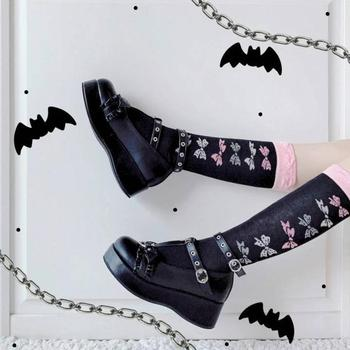 2021 Sweet Black Halloween Vampire Gothic Lolita Style Girls Pink Bat Wings Ruffles Mary Janes Flats Platform Shoes Women 1