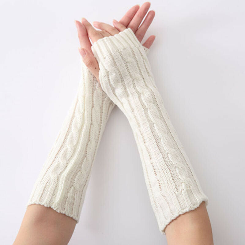 Hot Sale Winter Women Fashion Warm Long Gloves Solid  Arm Crochet Knitting Wrist Arm Hand Warmer Knitted Long Fingerless Gloves