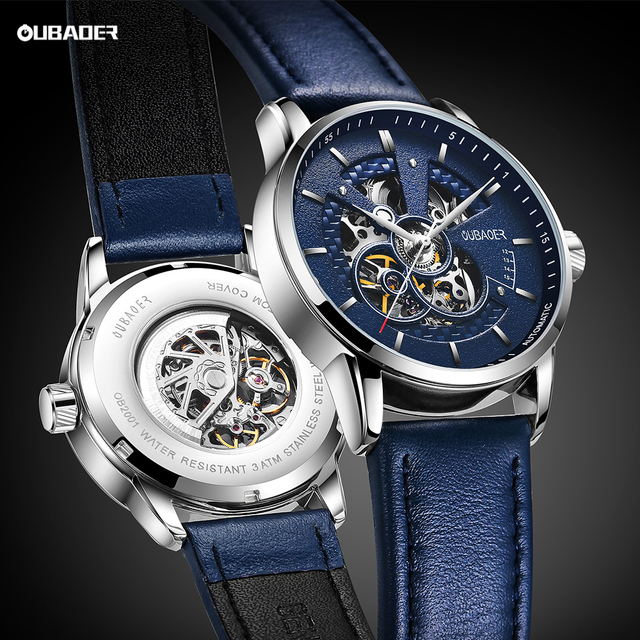 OUBAOER Mens Watches 2021 Mechanical Automatic Top Brand Luxury Tourbillon Self Winding Leather Sport  Wristwatch 1