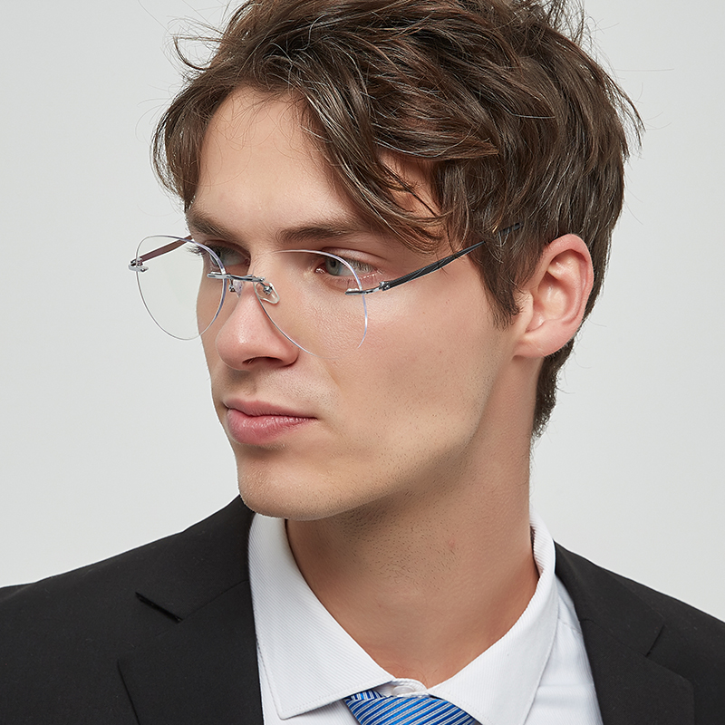 Titanium Men's fashion rimless pilot glasses complete prescription glasses frame with lenses AM02 AM03
