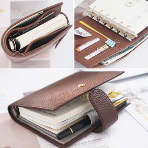 Image 4 - New Arrivals Genuine Leather Rings Notebook A7 Size Silver Binder Mini Agenda Organizer Cowhide Diary Journal Planner Big Pocket