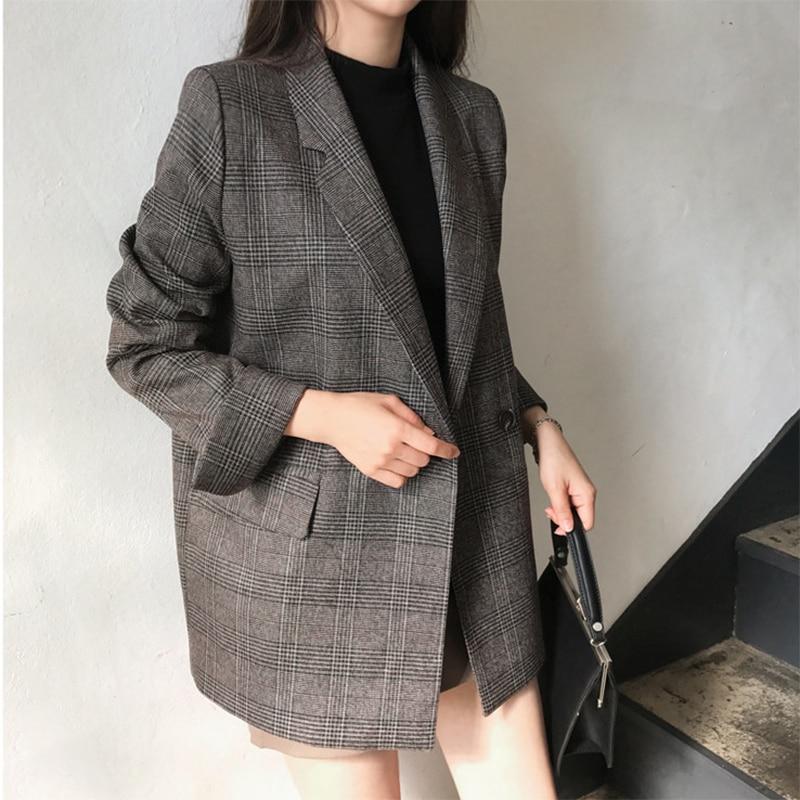 2019 Autumn Women's Check Long Sleeve Cotton Jacket Casual Vintage Coat Female  Plaid Blazer Outerwear Women