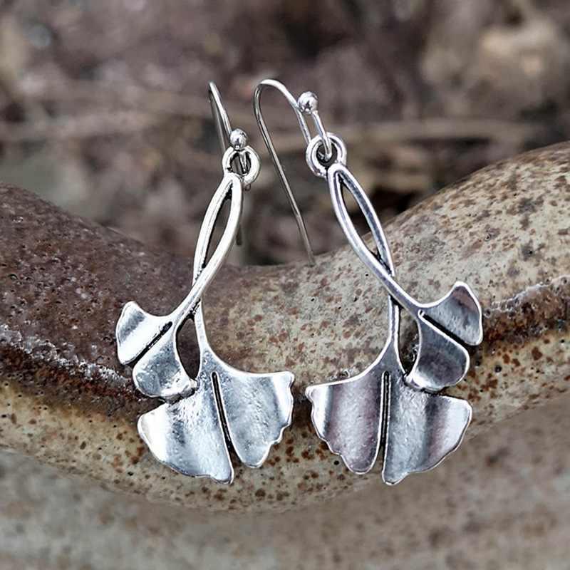 BoHo Ginkgo Biloba Daun Tanaman Kait Laporan Anting-Anting Fashion Logam Silver Daun Menjuntai Anting-Anting untuk Wanita Perhiasan