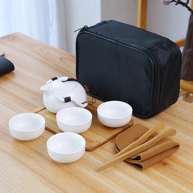 Ceramic teapot kettle gaiwan Chinese Travel Ceramic tea cup for puer chinese tea pot portable tea set drinkware Free shipping 10