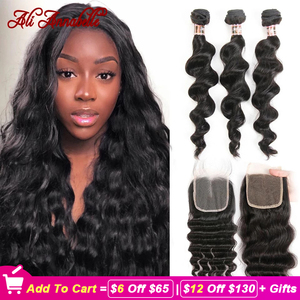 Image 1 - ALI ANNABELL Loose Wave Bundles With Closure Human Hair Bundles With Closure Loose Wave Human Hair With Transparent Lace Closure