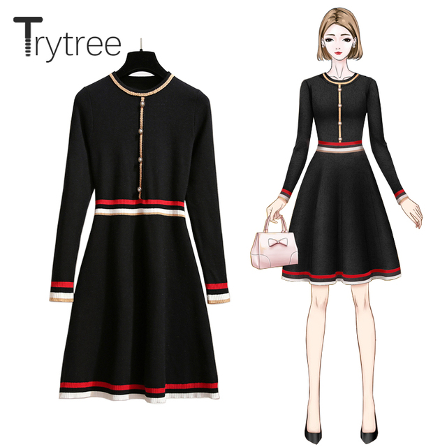 Trytree 2020 Autumn Winter Women Casual Dress O-neck Knitting Spliced Fashion Elegant Button A-line Mini Office Lady Dress 1