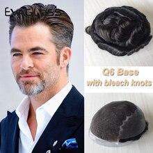 Natürliche Haaransatz Q6 Basis Haarteil Ersatz Systeme Schweizer Spitze Vorne Mit Haut PU Toupet Männer Menschliches Haar Männer Perücken Prothese