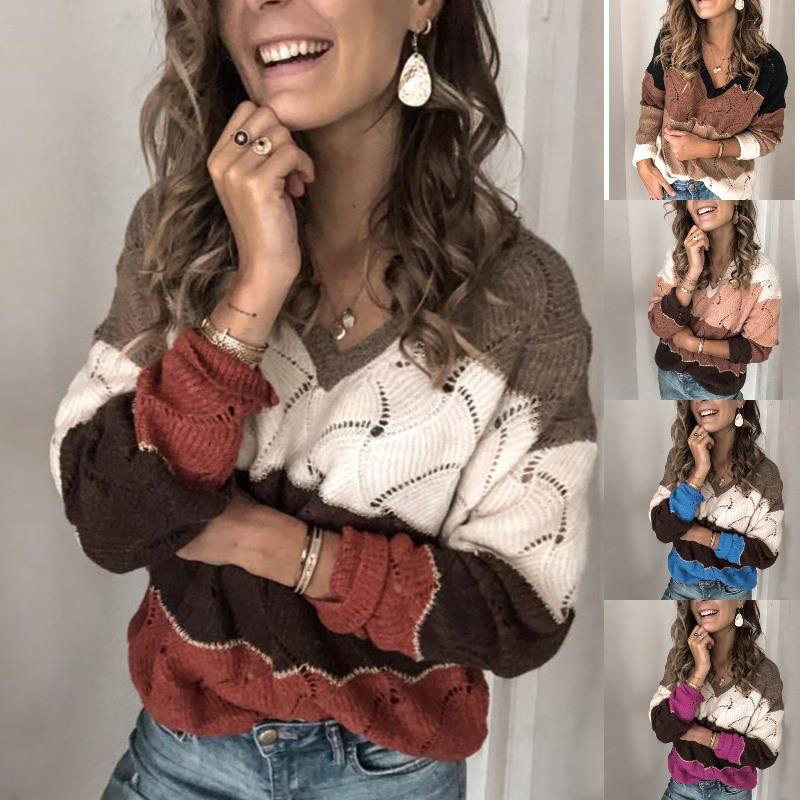 Hollow Out Women's Sweater Pacthwork Plaid Female 2020 Autumn Winter Casual Loose Pullovers Colorful Ladies Sweaters