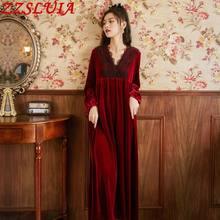 Long sleeve Golden velvet Ladies Nightgown dress Hollow out designer V neck Nightdress Retro Royal court Loose Homewear