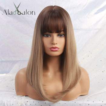ALAN EATON Long Ombre Brown Blonde Wigs with Bangs Cosplay Synthetic for Black Women Afro Straight Natural Party False Hair Wigs 1