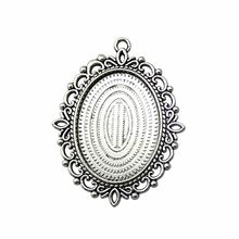 WYSIWYG 30x40mm 18x25mm 13x18mm iç boyutu Vintage antik gümüş renk antika bronz renk Oval Cameo Cabochon bankası ayarı