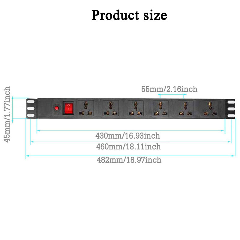 Image 5 - Industrial PDU Power Distribution Unit Socket Overload Protection Power Strip 6AC Universal Outlet Extension Socket 1.5/2.5MExtension Socket   -