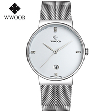 цена montre homme 2020 WWOOR Men Classic Simple Style Watches Silver Diamond Luxury Watch Men 30M Waterproof Quartz Casual Wristwatch онлайн в 2017 году