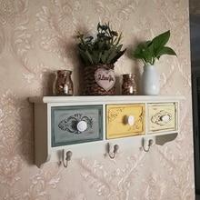 Caja de almacenamiento montada de pared Vintage blanco cajón colgante de pared de almacenamiento de entrada gabinete accesorios de decoración de personalidad