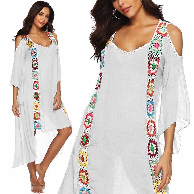 Bata De Talla Grande Para Mujer Vestido Largo Playero Pareo Traje De Bano Blanco Ropa De Playa Crochet Con Flores 2020 Cover Up Aliexpress
