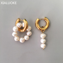 XIALUOKE Punk Metal Stainless Golden Round Earclip Earrings For Women Fashion Vintage Freshwater Pearls Drop Earrings Jewelry A8