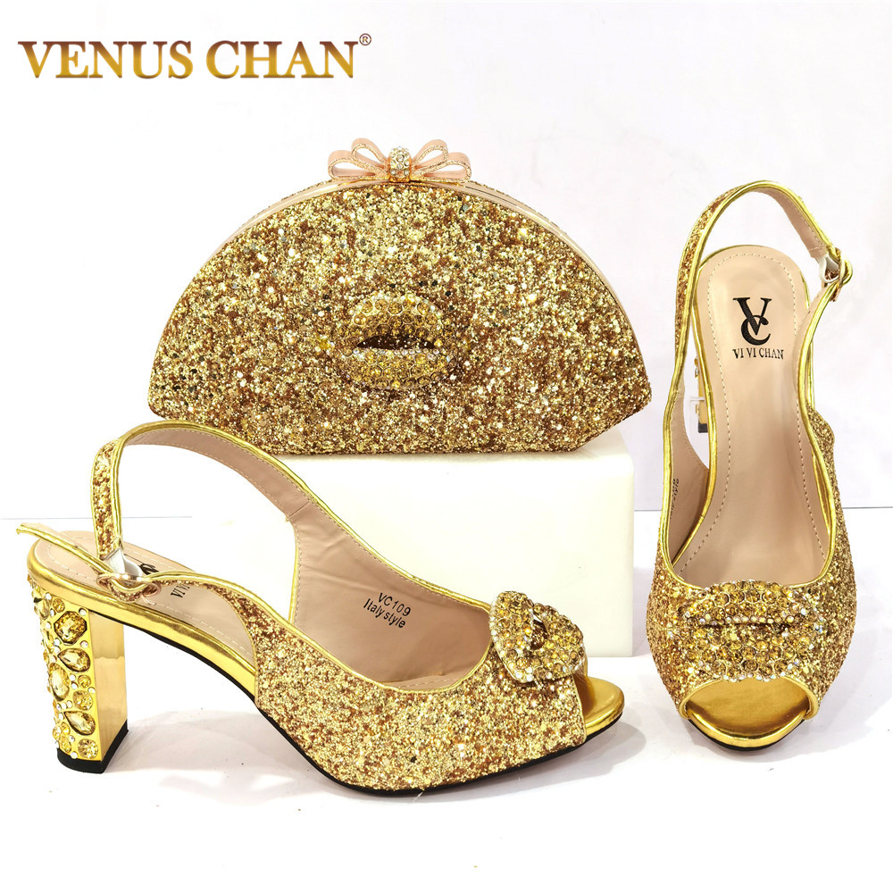 2021 Latest Golden Color Italian design Ladies Shoes and Bags To Match Set Nigerian Shoes and Matching Bag Set for Party