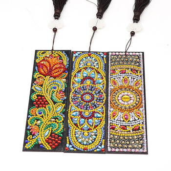 HUACAN 5D Special Shaped Diamond Painting Bookmark Embroidery Cross Stitch Leather Tassel Book Marks Diamond