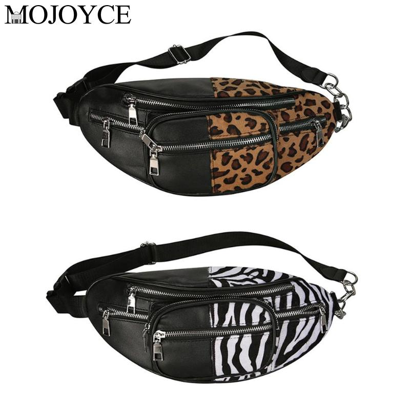 Fashion Street Leather Waist Pack Women Girls Fanny Pack  Leopard Zebra Pattern Shoulder Chest Belt Bags Pouch Excellent Quality