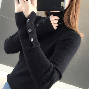 Lucyever New 2020 Autumn Women Turtleneck Sweater Fashion Winter Pullover Slim Knitted Long Sleeve Button Jumper Lady Basic Top