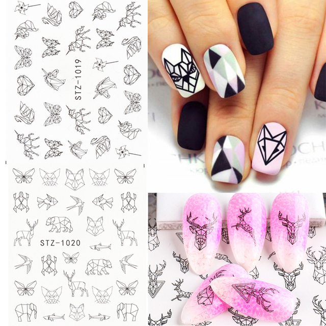 Abstract Lady Face Nail Decals Water Black Leaf Sliders Paper Nail Art Decor Gel Polish Sticker Manicure Foils CHSTZ1018-1033 5