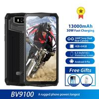 Blackview BV9100 Android 9.0 Mobile phone 6.3 Smartphone IP68 Rugged MT6765 Octa Core 4GB+64GB 13000mAh Battery 30W Fast Charge