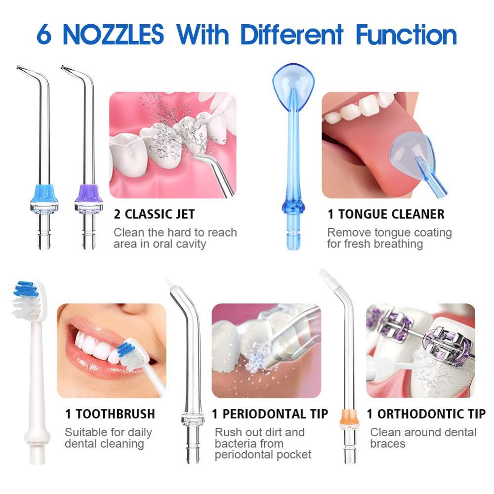 5 Modes Oral Irrigator USB Rechargeable Water Floss Portable Dental Water Flosser Jet 300ml Irrigator Dental Teeth Cleaner+5 Jet 6