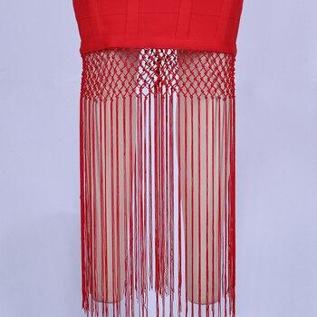 Ocstrade Red Bandage Dress 2020 New Sexy Fringe Tassel Vestidos Bandage Rayon Women Bandage Maxi Dress Celebrity Party Dresses 5