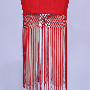 Image 5 - Красное Бандажное платье Ocstrade, длинное платье из вискозы с бахромой и кисточками, вечерние платья знаменитостей, новинка 2020
