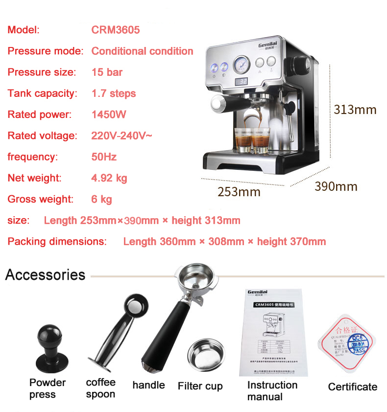 15 Bar Italian Semi-automatic Espresso Coffee Maker