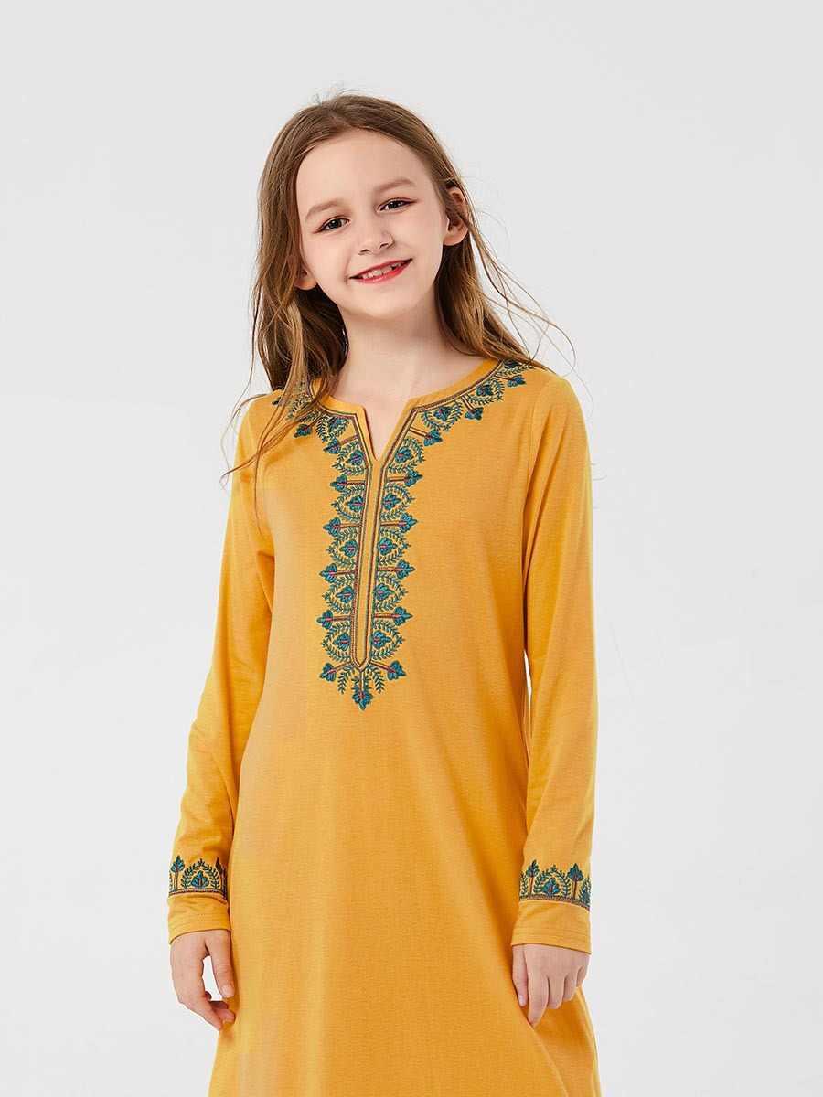 이슬람 소녀 드레스 땀 봄 키즈 모로코 Abaya 드레스 어린이 이슬람 의류 두바이 a 라인 Elbise Vestido Kaftan Yellow