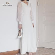 Noble weiss em estoque v-neck zíper voltar sereia floor-length vestidos de casamento chiffon vestido de noiva US2-16
