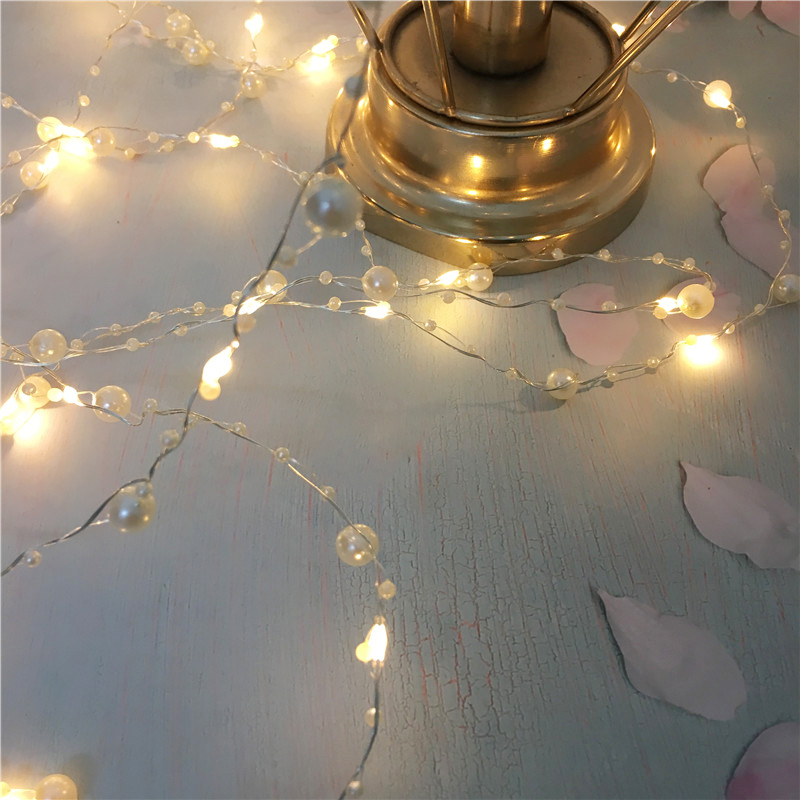 Battery Operated Pearl LED Copper Wire String Light 10/5M Pearlized Fairy Holiday Light For Wedding Home Party Wedding DIY Decor