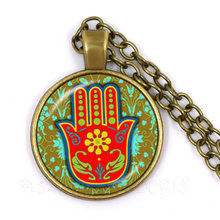 amsa Hand Amulet Lucky Necklace Jewelry Fatima Hand Judaica Kabbalah Charm Miriam Hand Sweaterchain Jewelry For Women Men Kids(China)
