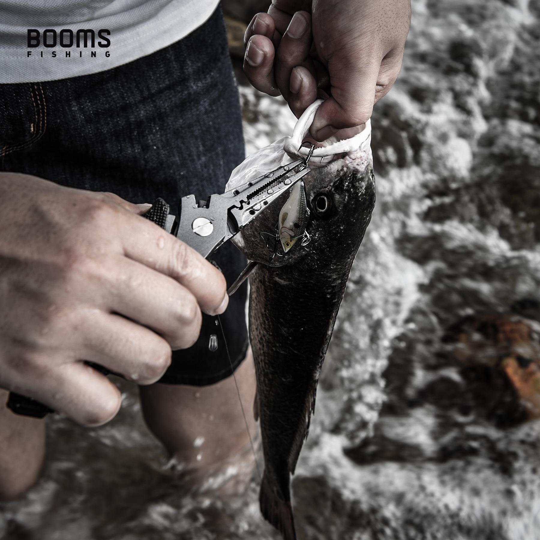 Booms pesca f07 aço inoxidável alicate de pesca com cordão e bainha