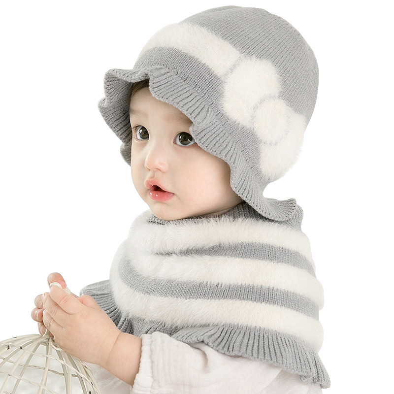 Wool Elegant  Baby Princess Shawl Scarves  Winter Plush Sweet Cute Girls Bow Cap  Accessories