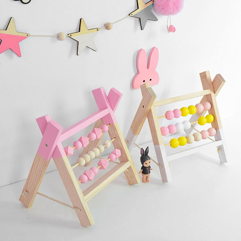 Nordic Style Wooden Trapezoid Abacus Toys Baby Room  Wood Decoration Shelf Gift C63B