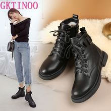 GKTINOO Women Short Boots Genuine leather 2020 New Wool Warm Ladies Winter Boots Large Size 42 43 Flat Ladies Snow Boots