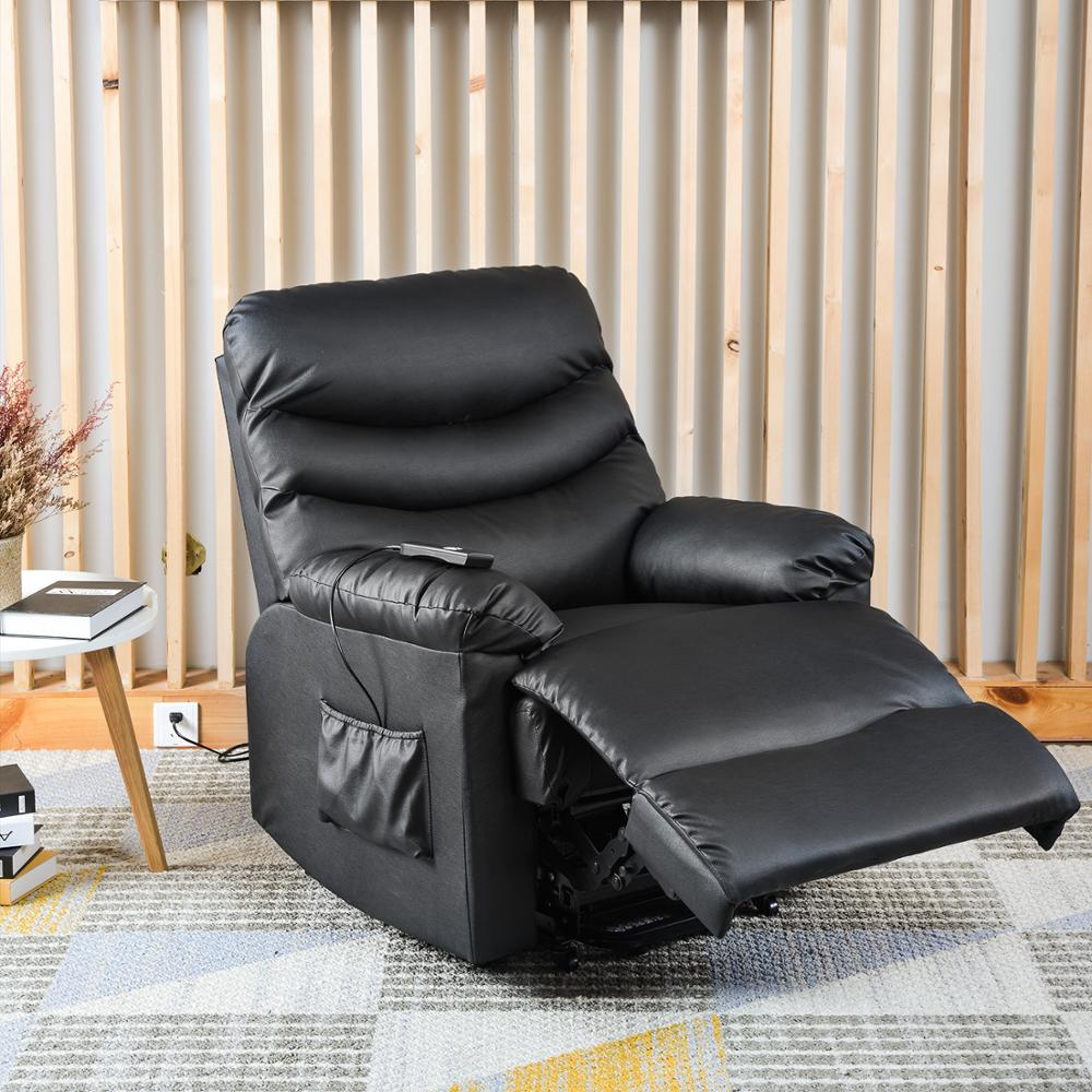 US $418.0  Power Recliner and Lift Chair in Black PU leather Lift Recliner Chair, Heavy Duty Steel Reclining Mechanism Office Sofas  AliExpress