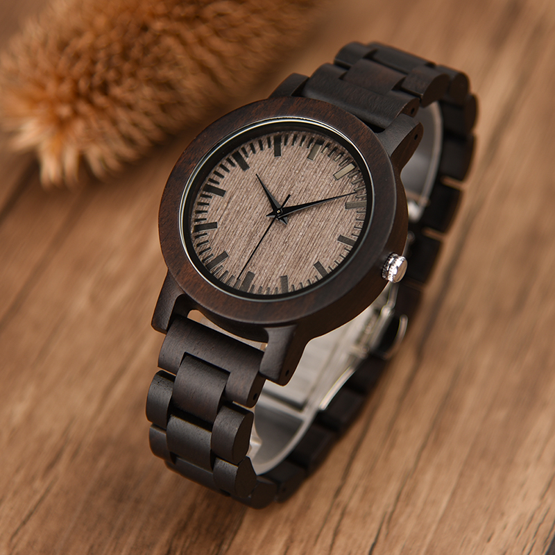 DODO DEER Saat Casual Men Watch Black Sandalwood Watches Analog Quartz Wristwatch For Male Dressing A04-3